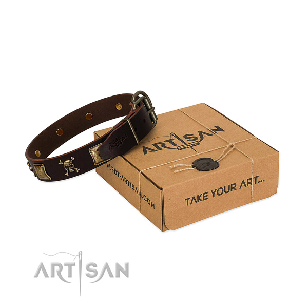 Flexible full grain leather dog collar with unique decorations