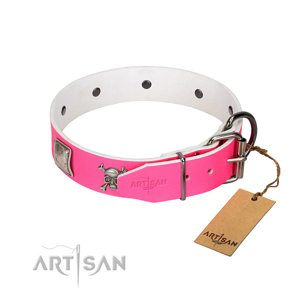 Easy wearing leather dog collar with unique decorations