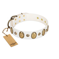 """Milky Lagoon"" FDT Artisan White Leather dog Collar with Vintage Looking Oval and Round Adornments"
