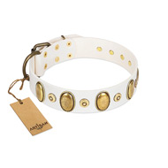 """Pearly Grace"" FDT Artisan White Leather dog Collar with Engraved Ovals and Small Dotted Studs"