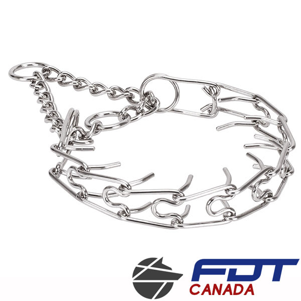Corrosion proof dog prong collar with stainless steel removable prongs