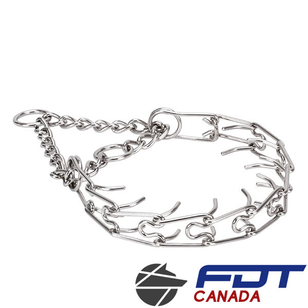 Rust resistant stainless steel prong collar for badly behaved canines