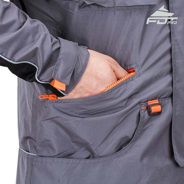Grey FDT Professional Design Dog Tracking Jacket with Durable Side Pockets
