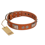 """Pawsy Glossy"" FDT Artisan Exclusive Tan Leather dog Collar 1 1/2 inch (40 mm) wide"