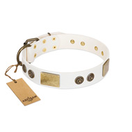 """Sweet Melody"" FDT Artisan White Leather dog Collar with Plates and Ornamented Studs"