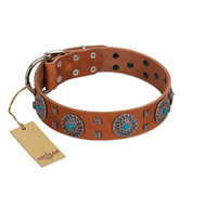 """Blue Sands"" FDT Artisan Tan Leather dog Collar with Silver-like Studs and Round Conchos with Stones"