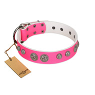 """Silver Drops"" Designer Handmade FDT Artisan Pink Leather dog Collar"