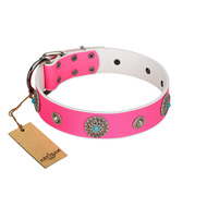 """Chili Mood"" Designer Handmade FDT Artisan Pink Leather dog Collar"