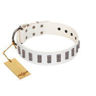 """Heaven's Gates"" Handmade FDT Artisan White Leather dog Collar with Silver-Like Engraved Plates"