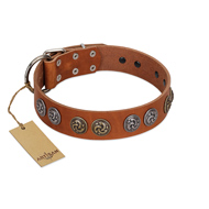 """Luxurious Life"" Premium Quality FDT Artisan Tan Leather dog Collar with Round Adornments"