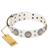 """Mighty Shields"" FDT Artisan White Leather dog Collar with Chrome Plated Shields and Square Studs"