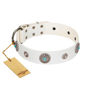 """Lush Life"" Designer Handcrafted FDT Artisan White Leather dog Collar with Blue Stones"