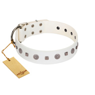 """Drops on Snow"" Handmade FDT Artisan White Leather dog Collar Adorned with Silver-Like Studs"
