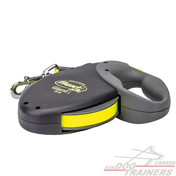 Strong flexi black housing and neon yellow leash